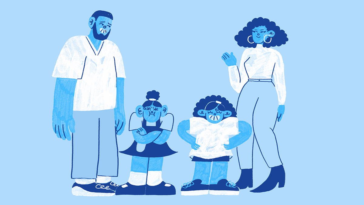 Cartoon picture of two parents and their children